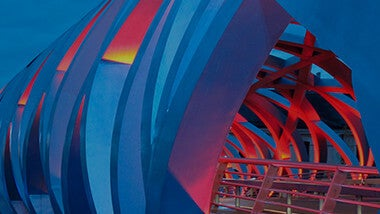 blue and red colorful futuristic tunnel