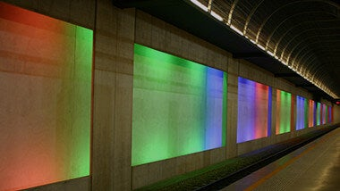 rainbow colored corridor