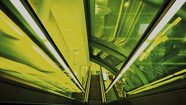 green lit escalator
